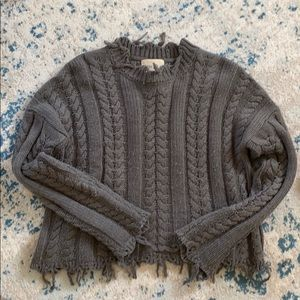 Moon River grey cable knit sweater